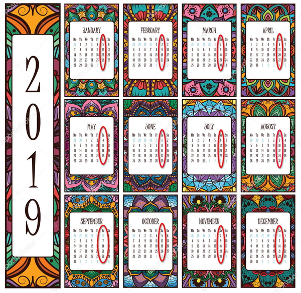 depositphotos 223820254 stock illustration 2019 calendar beautiful intricate mandalas